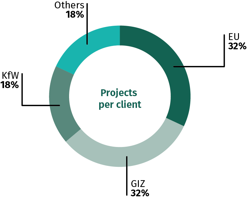 Projects by client - EU: 32%, GIZ: 32%, kfW: 18%, Other: 18%